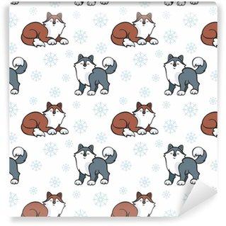 Seamless pattern per bambini in stile cartone animato con cani husky carino. sfondo vettoriale.