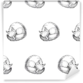 Vector seamless con simpatico personaggio di animali. illustrazione disegnata a mano con la volpe addormentata isolata on white. trama in bianco e nero in stile schizzo