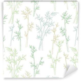 Vettore senza cuciture dell'illustrazione di schizzo del modello di colore verde grafico della pianta di bambù