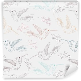 Carta da parati in vinile su misura Colibrì di uccelli multicolori tropicali e lettering buon giorno senza cuciture. illustrazione vettoriale disegnato a mano.