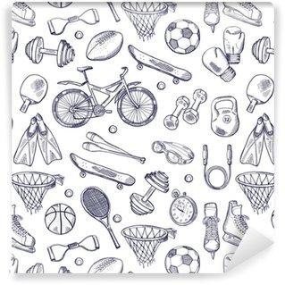 Carta da parati in vinile su misura Doodles vettoriali disegnati a mano senza cuciture di diversi accessori sportivi