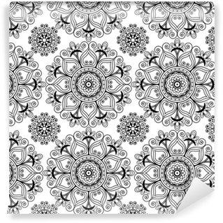 Carta da parati in vinile su misura Fondo senza cuciture di vettore del hennè mehndi con elementi di decorazione buta in stile indiano.