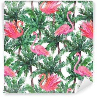 Fenicotteri rosa acquerello, uccelli esotici, foglie di palma tropicale. S