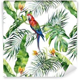 Illustrazione senza giunte dell'acquerello di foglie tropicali, giungla densa. pappagallo ara scarlatto. fiore di strelitzia reginae. dipinto a mano. modello con motivo estivo tropico. foglie di palma di cocco.