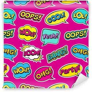 Modello colorato senza cuciture con i fumetti comici toppe su fondo rosa. espressioni oops, cool, sì, boom, wow, omg, bang. illustrazione vettoriale di moderni adesivi vintage, stile pop art