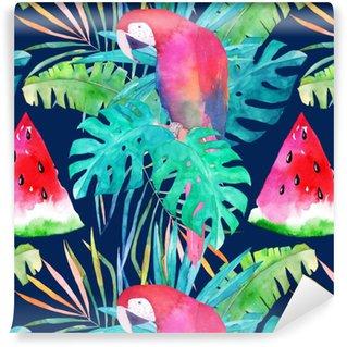 Modello estivo con pappagallo acquerello, foglie di palma e anguria. illustrazione colorata