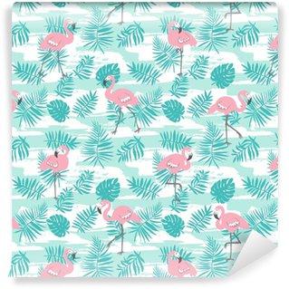 Reticolo senza giunte tropicale con fenicotteri rosa e foglie di palma verde. disegno vettoriale per tessuto, carta da imballaggio o carta da parati. sfondo esotico arte hawaii.