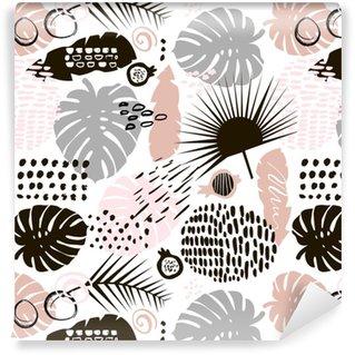 Seamless pattern di ramo di palma con elementi disegnati a mano. sfondo foglia di monstera. ottimo per tessuto, illustrazione vettoriale tessile