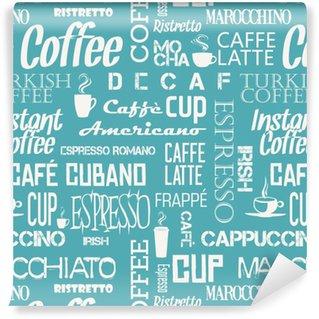 Carta da parati in vinile su misura Mattonelle senza cuciture sfondo di parole e simboli caffè