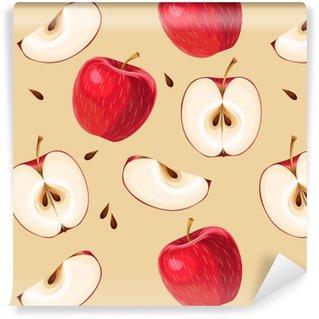 Carta da parati in vinile su misura Mele rosse e fette di mela senza soluzione di continuità