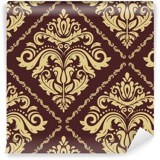 Carta da parati in vinile su misura Modello classico d'oro senza soluzione di continuità. ornamento tradizionale orient. sfondo vintage classico