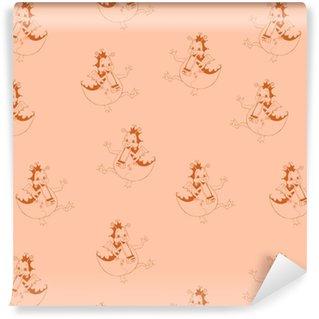 Carta da parati in vinile su misura Modello senza cuciture con draghi. può essere utilizzato per sfondi, tessuti, tessuti, trame. illustrazione vettoriale carino.