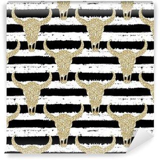 Carta da parati in vinile su misura Modello senza cuciture disegnato a mano. teschi glitter oro su fondo a strisce. per avvolgere, carta da parati, tessuto, tessuto