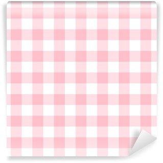 Carta da parati in vinile su misura Motivo a scacchi senza cuciture in rosa chiaro e bianco femminile