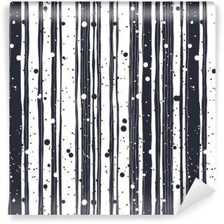 Carta da parati in vinile su misura Reticolo senza giunte disegnato a mano astratto con linee bianche e nere
