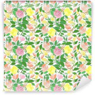 Carta da parati in vinile su misura Seamless con rose fiori delicati, piccoli fiori e foglie verdi.