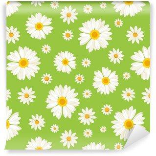 Carta da parati in vinile su misura Seamless pattern con fiori margherita su verde. Vettore.