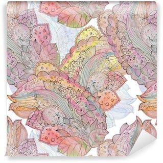 Carta da Parati a Motivi in Vinile Senza soluzione di texture astratta per batik con motivo etnico. watercolo