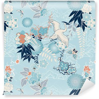 Carta da Parati a Motivi in Vinile Sfondo Kimono con gru e fiori