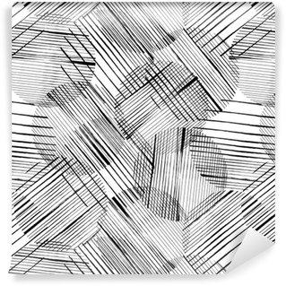 Carta da parati in vinile su misura Sfondo seamless pattern, con cerchi, tratti e schizzi, in bianco e nero