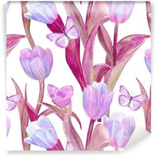 Carta da parati in vinile su misura Trama senza soluzione di moda con incantevoli tulipani e farfalle per il vostro disegno. pittura ad acquerello