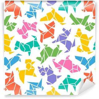 Carta da parati in vinile su misura Vettore origami cani sfondo senza soluzione di continuità. modello di sagoma segno astratto basso poli pet cane razza isolato su bianco. disegno di carta da parati geometrica animale astratto. 2018 simbolo cinese di nuovo anno