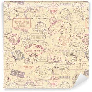 Vinil Duvar Kağıdı Bağbozumu pulları ile posta temalı arka plan (fayans)