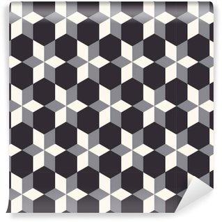 Vinil Duvar Kağıdı , Bej, gri ve siyah tonlarda 3D geometrik dikişsiz desen