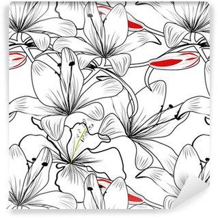 Vinil Duvar Kağıdı Beyaz zambak çiçekleri ile Seamless pattern