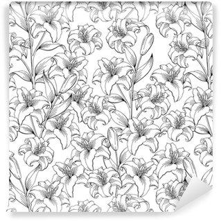 Özel Boyutlu Vinil Duvar Kağıdı Beyaz zambak illüstrasyon kroki resmi siyah vektör çiçek