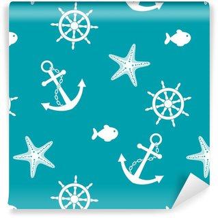 Vinil Duvar Kağıdı Çapa, tekerlek, balık, denizyıldızı Deniz seamless background