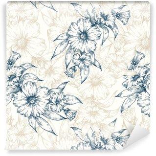 Vinil Duvar Kağıdı Çiçek vektör desen