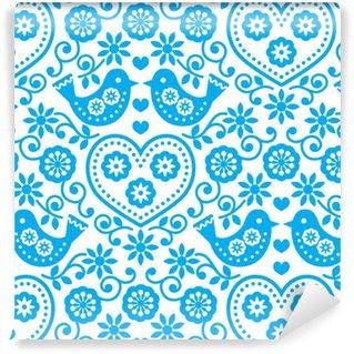 Vinil Duvar Kağıdı Çiçekler ve kuşlar ile halk sanatı kesintisiz mavi desen