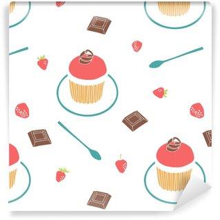Vinil Duvar Kağıdı Çilekli çörek, çikolata, çilek, çaydanlık ve bir çay kaşığı. dikişsiz vektör arka plan.