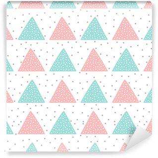 Özel Boyutlu Vinil Duvar Kağıdı Çocuklar için sevimli dikişsiz desen. üçgenler ve yuvarlak lekeler. elle çizilmiş.