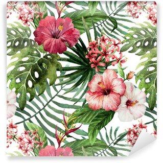 Vinil Duvar Kağıdı Desen orkide ebegümeci suluboya tropik yaprakları