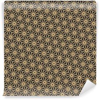 Vinil Duvar Kağıdı Dikişsiz antika palet siyah ve altın diyagonal japon asanoha model vektör