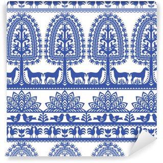 Vinil Duvar Kağıdı Dikişsiz çiçek Polonya halk sanatı desen Wycinanki Kurpiowskie - Kurpie Papercuts