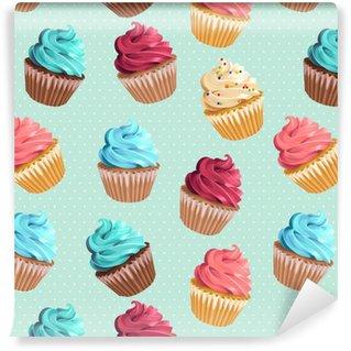 Vinil Duvar Kağıdı Dikişsiz cupcakes ve puantiyeli
