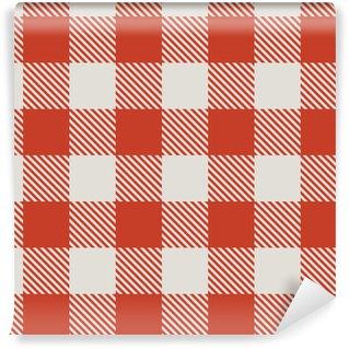 Vinil Duvar Kağıdı Dikişsiz kırmızı ve beyaz masa örtüsü vektör desen.
