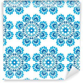 Vinil Duvar Kağıdı Dikişsiz mavi çiçek Polonya halk sanatı desen - wycinanki