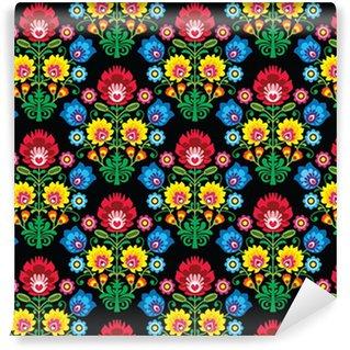 Vinil Duvar Kağıdı Dikişsiz Polonya halk sanatı çiçek deseni - wzory lowickie