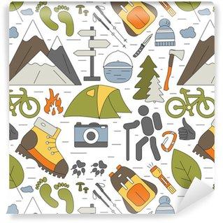 Özel Boyutlu Vinil Duvar Kağıdı Dış mekan kusursuz arka plan. yürüyüş ve kamp simgeleri desen. web sitesi, duvar kağıdı, ambalaj, tekstil, kumaş veya örtüler için vektör seyahat konsepti.