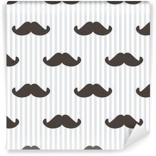 Vinil Duvar Kağıdı Düz tasarım, vektör yenilikçi bıyık ve çizgili seamless pattern background.