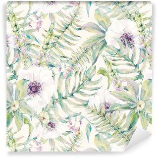 Vinil Duvar Kağıdı Eğrelti otları ve çiçekleri ile Suluboya yaprak sorunsuz desen