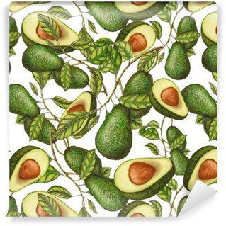 Vinil Duvar Kağıdı Elle çizilmiş avokado Seamless pattern