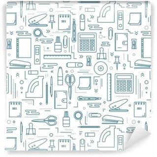 Vinil Duvar Kağıdı Farklı kırtasiye ve ofis ürünlerine sahip kesintisiz desen. web tasarımı ve basılabilir malzemeler için düz yinelenen arka plan.
