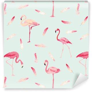 Vinil Duvar Kağıdı Flamingo Kuş Arkaplan. Flamingo Tüy Arkaplan. Retro Dikişsiz Desen