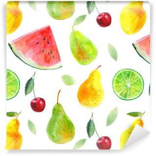 Vinil Duvar Kağıdı Fruit.Watermelon kireç limon armut ve cherry.Food picture.Watercolor elle çizilmiş resimde ile sorunsuz desen.
