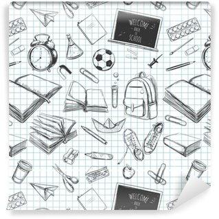 Vinil Duvar Kağıdı Geri okula hoş geldiniz desenleri dikişsiz desen. el ile çizilmiş elemanlar. okul malzemeleri. kitaplar, defter, defter, kitaplık, sırt çantası, lamba, çalar saat, futbol, spor ayakkabıları, kara tahta, kalem, işaretleyici, silgi